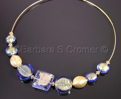Elegant Sapphire Venetian lampwork necklace