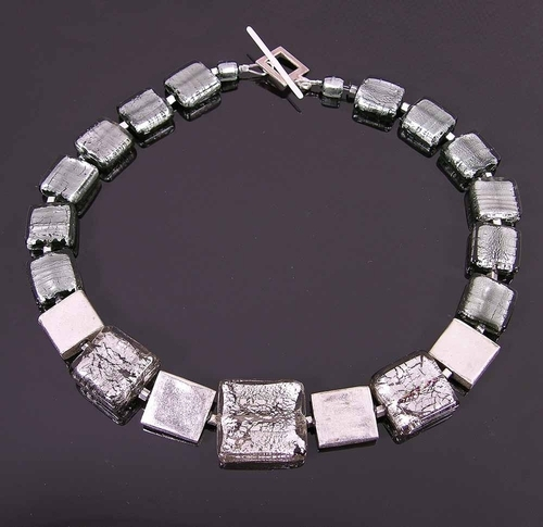 Thai silver and silver Venetian necklace