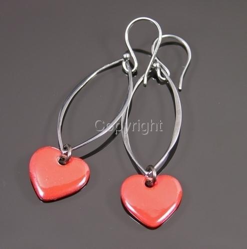 Passionately red enamel heart earrings