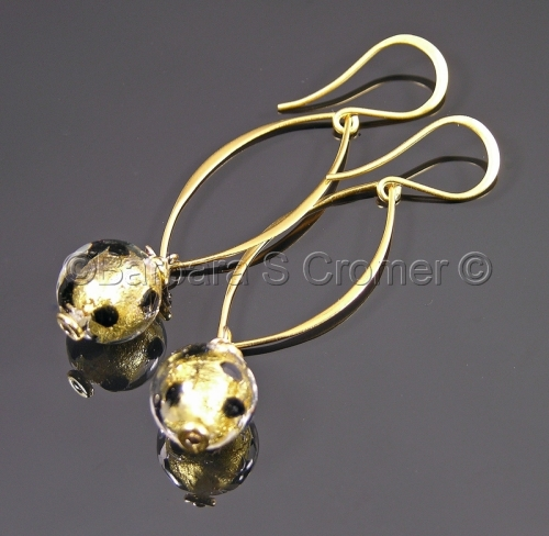 Wild Venetian leopard lamp work earrings
