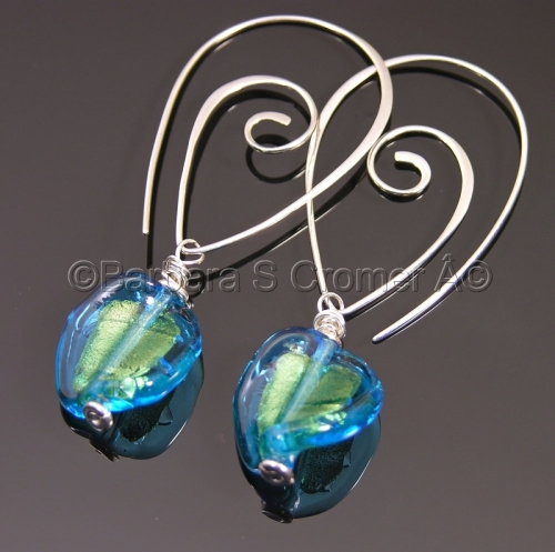Venetian, dreams of the sea, lamp work earrings