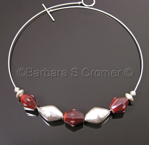 Bordeaux + silver necklace