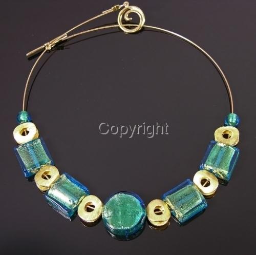Aqua over gold Venetian lampwork + vermeil necklace