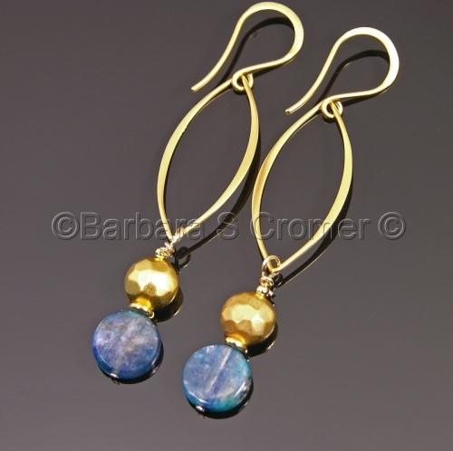 Vermeil and kyanite marquise drop earrings