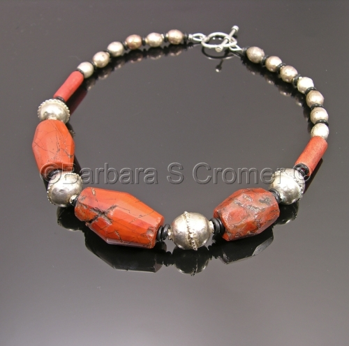 Many cultures, Vintage jasper and silver necklace