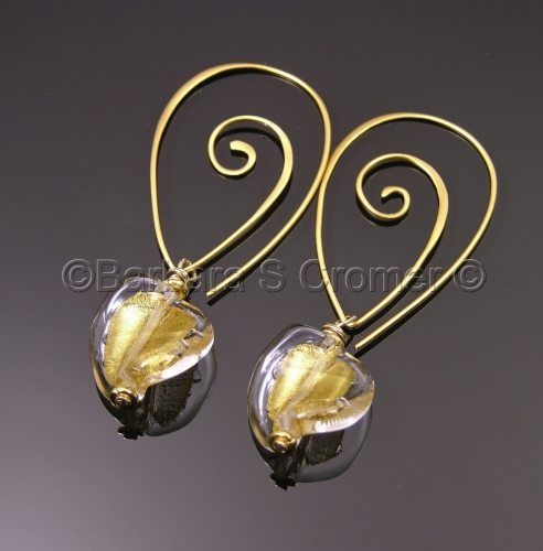 Exotic Golden Venetian twist earrings