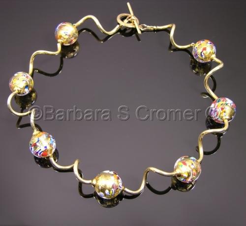 Golden Klimt Venetian necklace