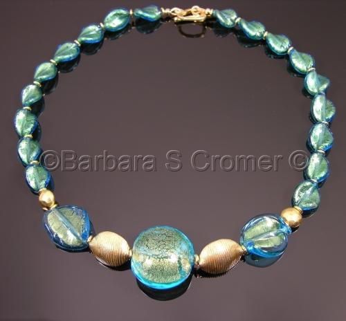 Aqua and golden Venetian necklace