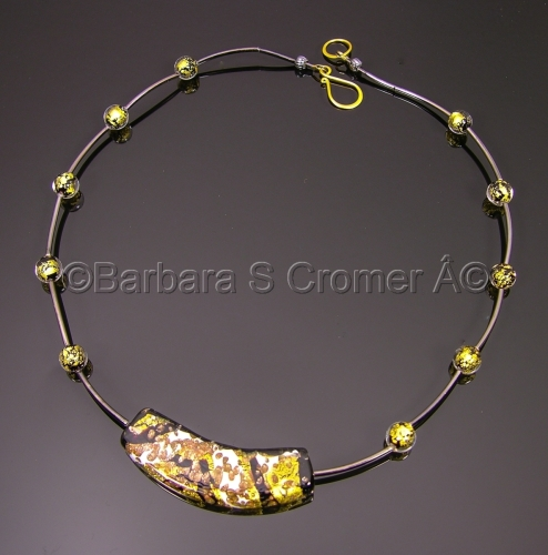 Baroque and gunmetal with vermeil, necklace