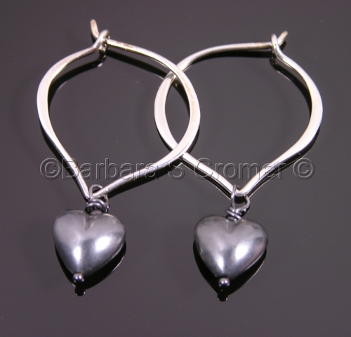 Black silver hearts and Lotus earrings