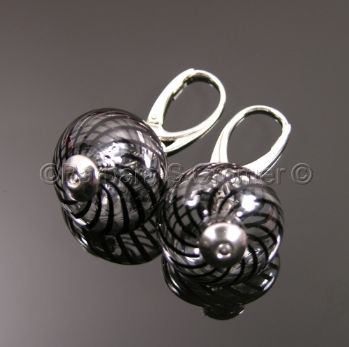 Black swirl earrings