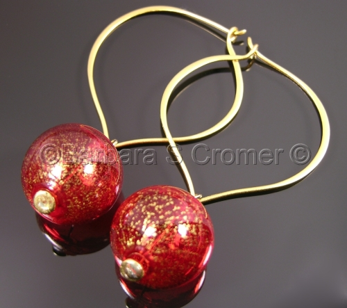 Strikingly red baubles for your ears