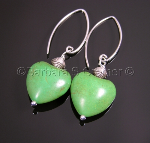 Stone hearts and silver earrings