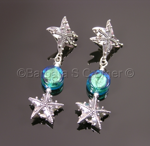 Exquisite Silver and Aqua Star fish earrings