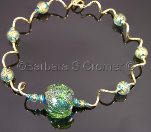 Dreams of the Sea I, aqua and golden Venetian necklace