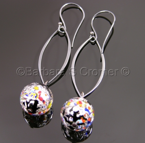 Silver and black Klimt earrings