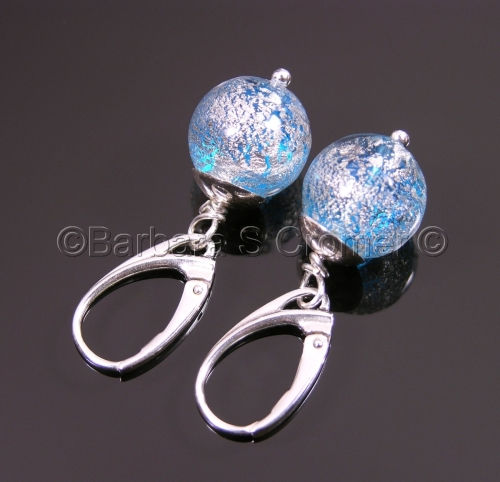White gold frosted blue Venetian earrings