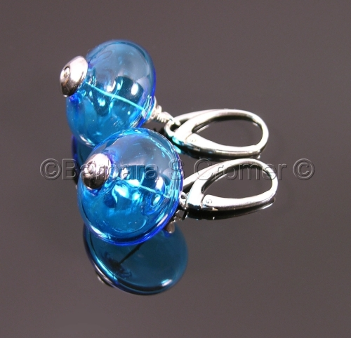 Aqua and Silver bauble earrings