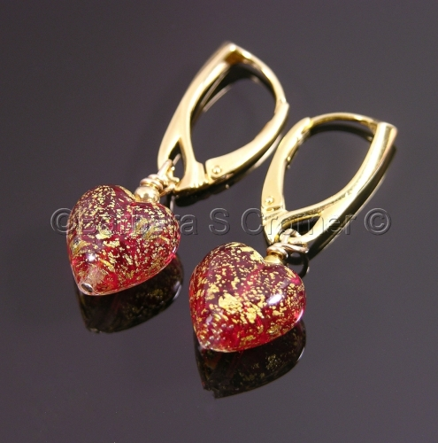 Ruby Ca' D'Oro Venetian heart earrings