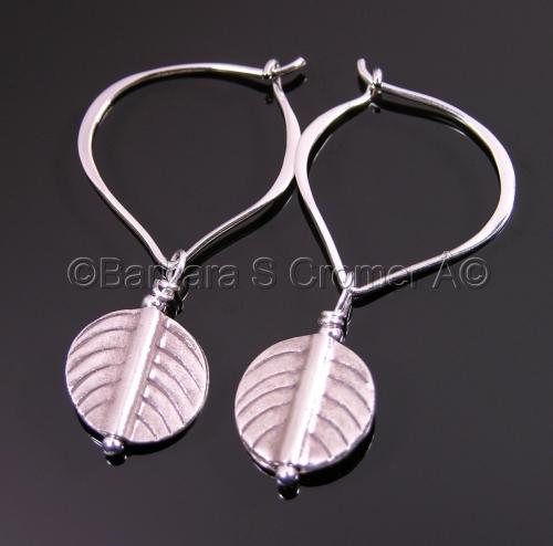 Thai silver leaves and lotus earrings