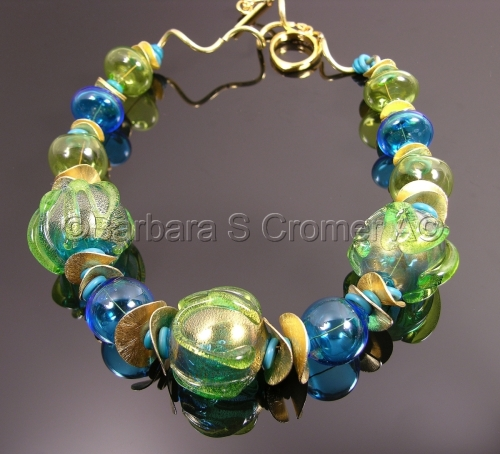 Dreams of the Sea III, aqua and golden Venetian necklace