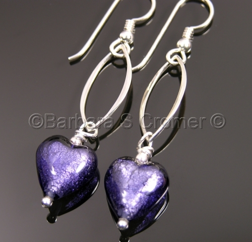 Purple Venetian hearts earrings
