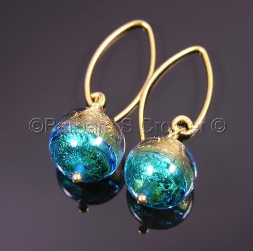 Mezzo mezzo turquoise and gold Venetian earrings