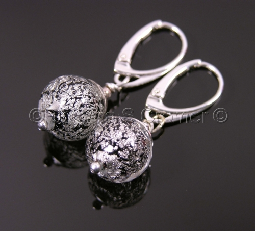 Black and white gold Ca D'Oro orbs earrings