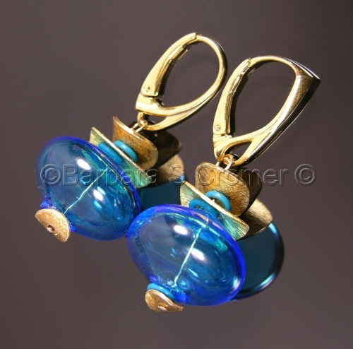 "Aqua and gold ""Dreams of the Sea"" Venetian earrings"