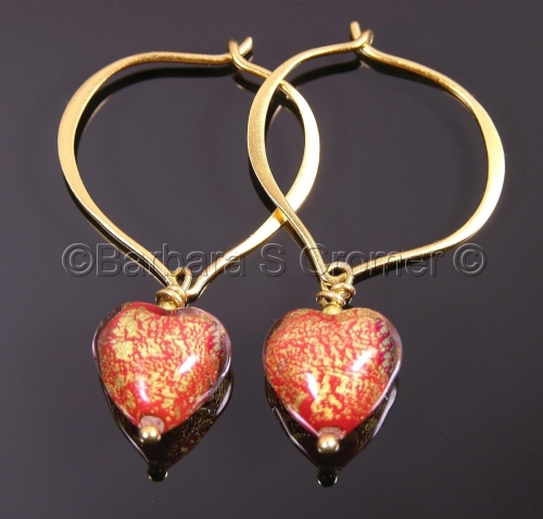 Petite Red Ca D'Oro heart earrings