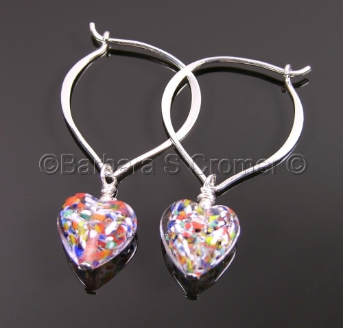 Silver Klimt Venetian heart earrings