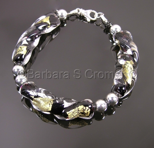 Black, silver, and gold twisted Venetian lamp work bracelet