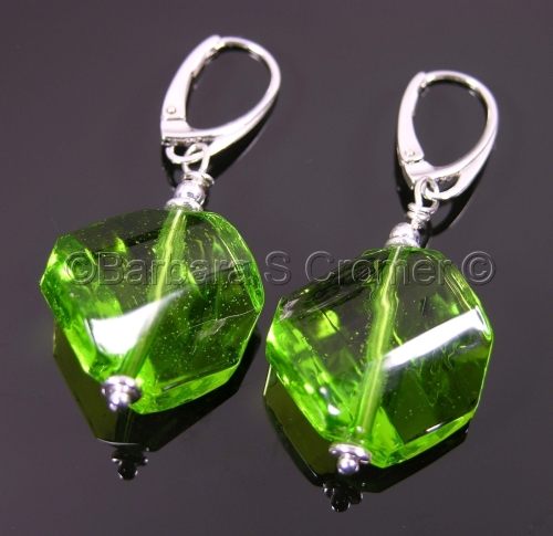 Peridot octagonal earrings