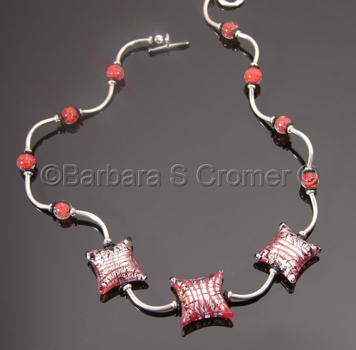 Mod square red with silver and black Venetian lamp work necklace