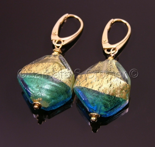Aqua and gold octagonal Venetian earrings