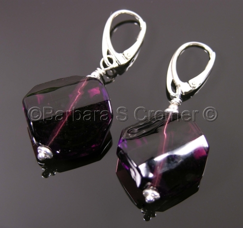 Amethyst octagonal Venetian earrings