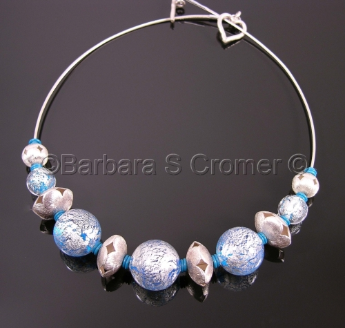 Blue Ca'D'oro with white gold and silver flowers necklace