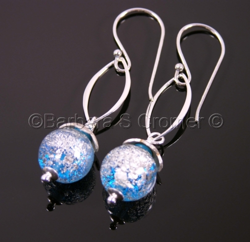 Blue Ca' D'oro with white gold and silver earrings