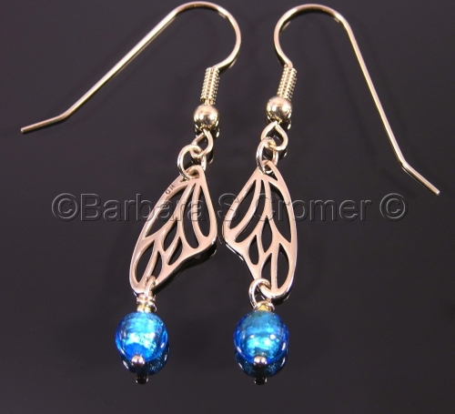 Bronze and aqua butterfly wing earrings