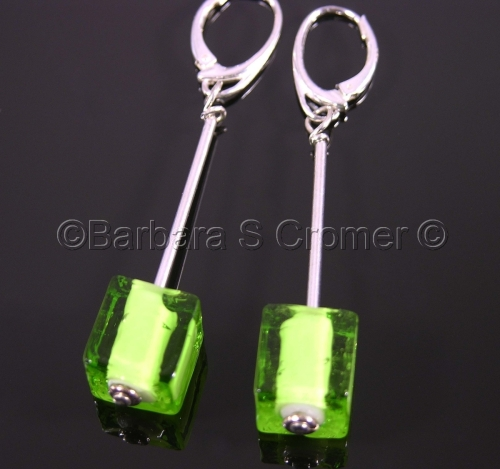 Peridot cubes Venetian lamp work earrings