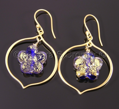 Elegant Cobalt Ca D'Oro Venetian Fiori earrings