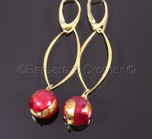 RUBY AND GOLD SWIRL VENETIAN LAMP WORK earrings