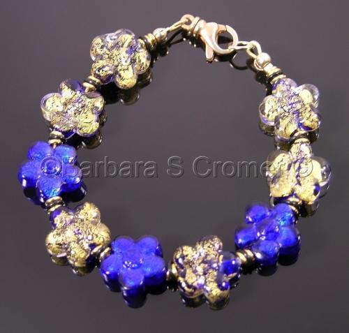 Cobalt & gold Ca D'Oro Venetian floral bracelet