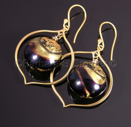 Black Venetian lamp work with golden swirls earrings