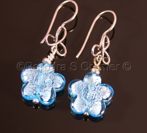 Aqua blue Venetian fiori earrings