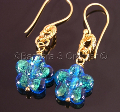 Aqua Venetian flower earrings