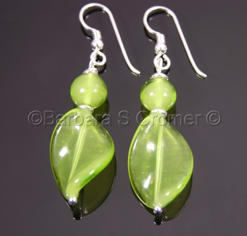Lime Venetian twist earrings