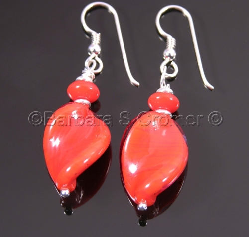 Poppy Red Venetian twist earrings