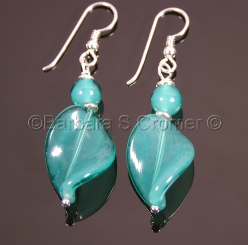 Deep Aqua Venetian twist earrings
