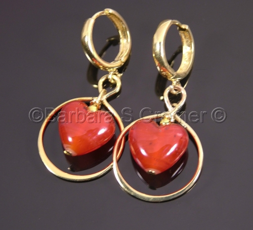 Venetian Hearts encircled by vermeil, earrings